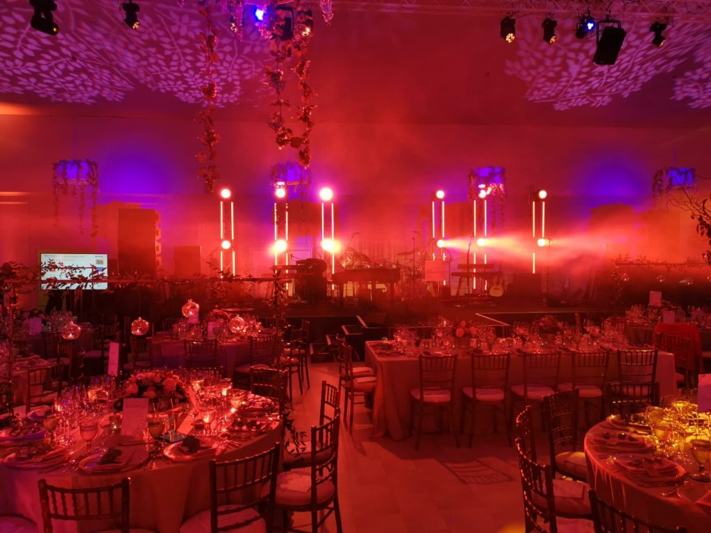 Kensington Palace event setup with fine dining tables and chairs.