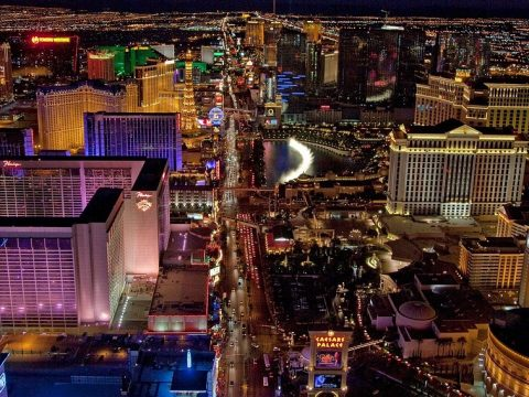 las vegas arial photo at night